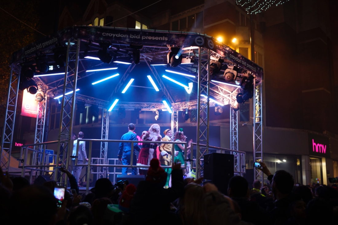 The little centre stage with Santa, his elves and the compere.