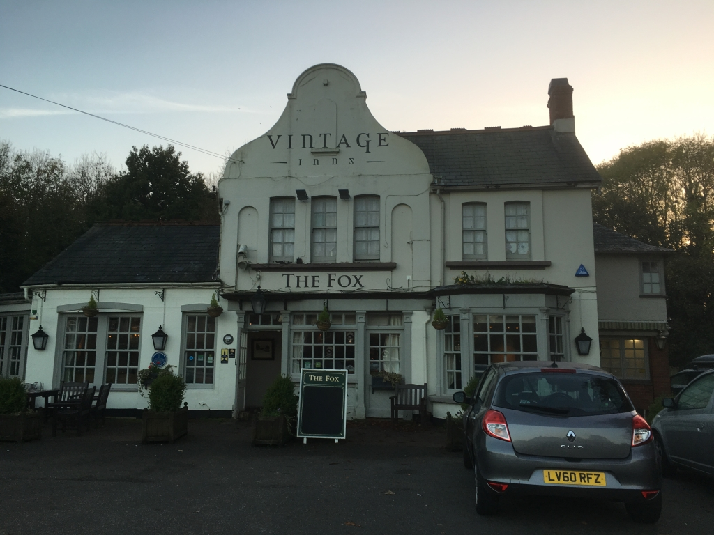 We had a cup of tea at The Fox. There were folk inside tucking into roast meals - at about 4.30 p.m.