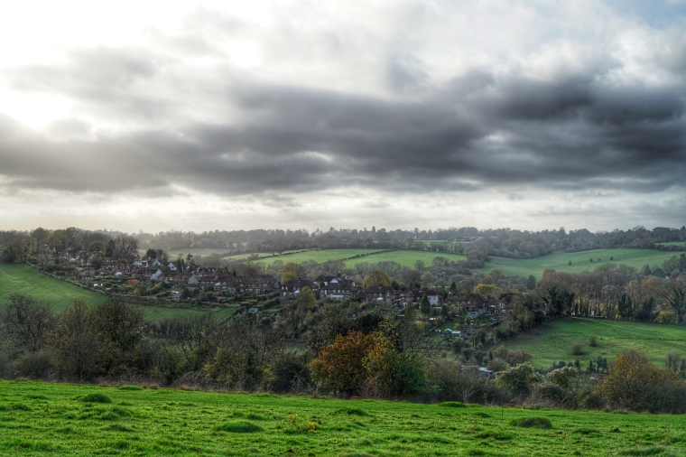 A view to a village from Farthing Downs